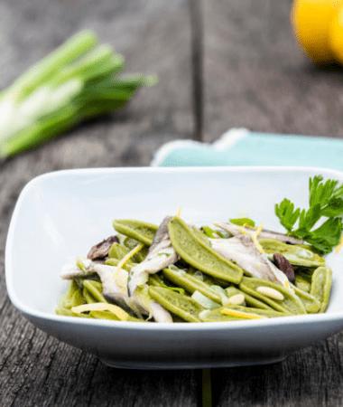 Feuilles d'olivier au poisson bleu et olives taggiasche au parfum citron